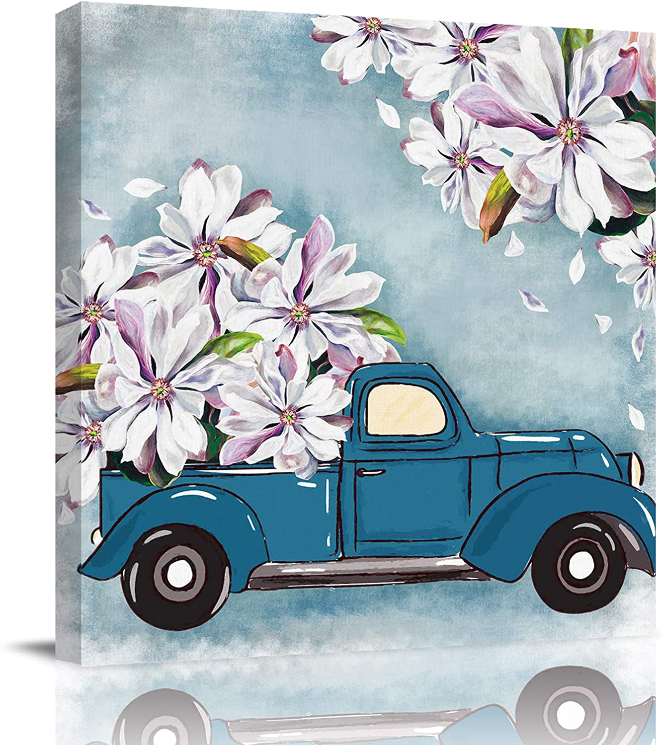 "Canvas Prints Wall Art Paintings with Framed 24""x 24"" Truck Carrying Magnolia Flowers Prints Wall Art for Home Living Room Decor,Ready to Hang"