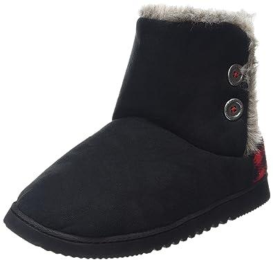 72001a847d2 Dearfoams Women's Two-Button Boot with Memory Foam Hi-Top Slippers