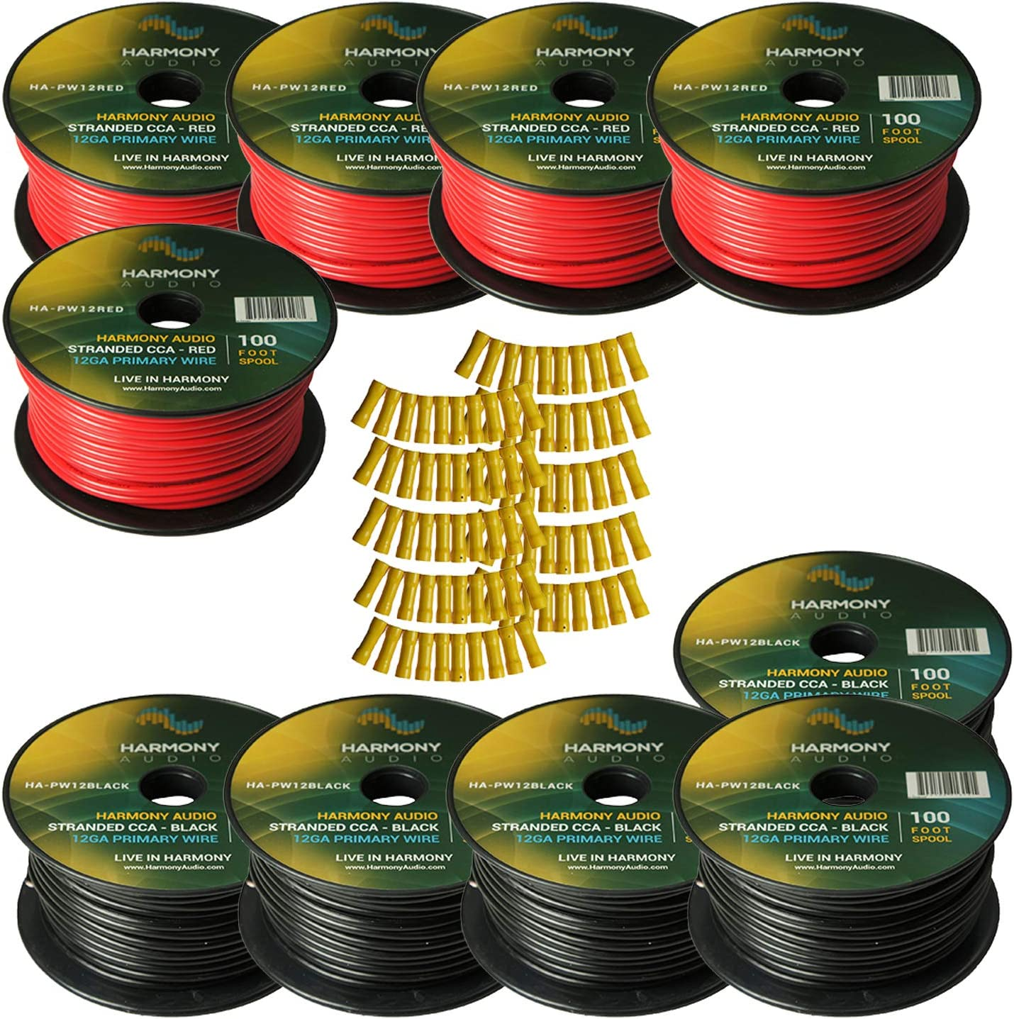 Harmony Audio Primary Single Conductor 12 Gauge Power or Ground Wire - 10 Rolls - 1000 Feet - Red & Black for Car Audio/Trailer/Model Train/Remote 81mZmQOrTNLSL1500_