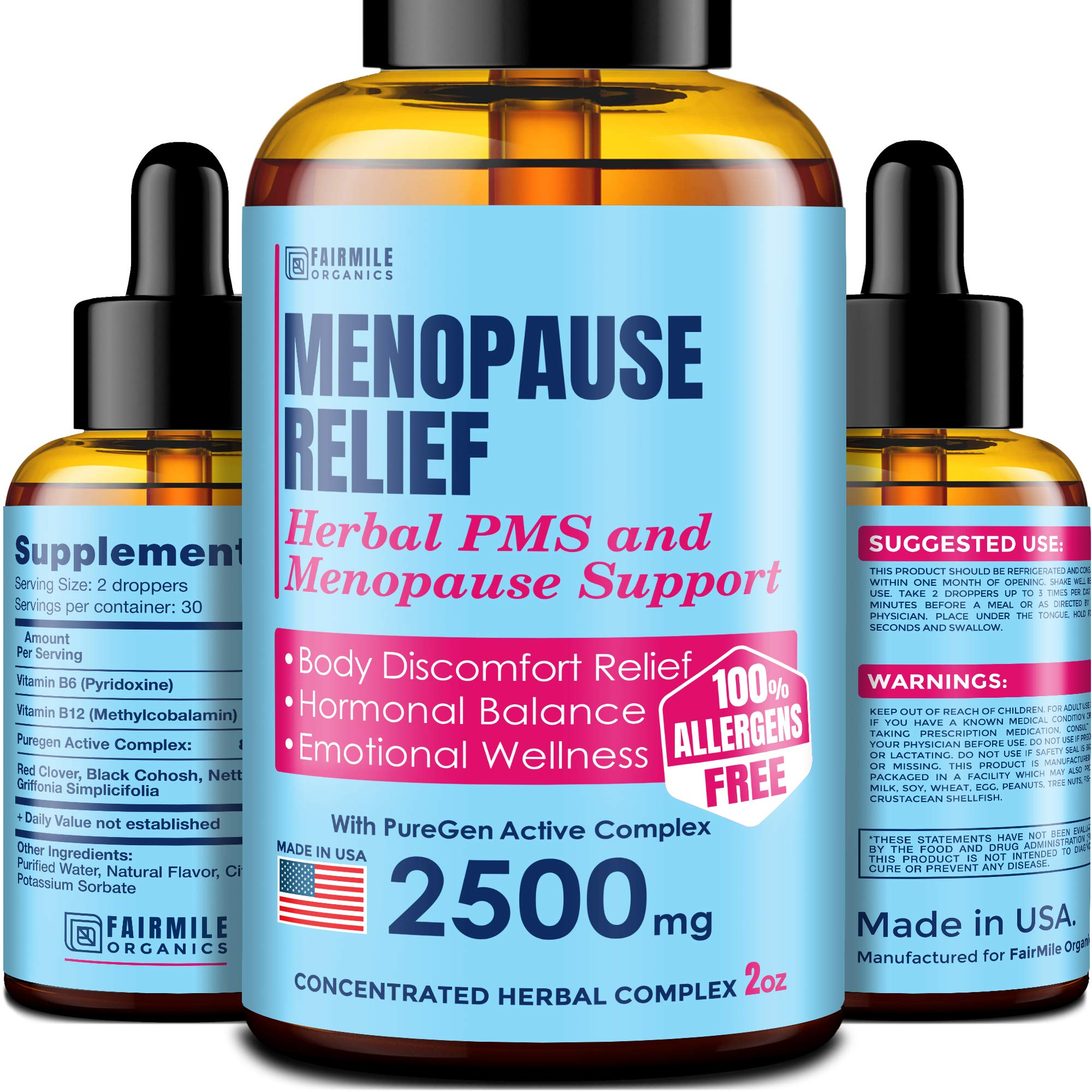 Menopause & PMS Natural Relief with Black Cohosh for Hot Flashes - Made in USA - Supports Healthy Weight Loss - Provides Hormone Balance for Women 100% Natural and Liquid for Best Absorption - 2 oz