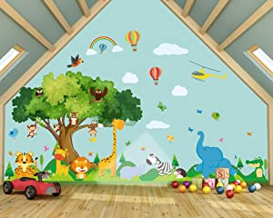Outus 4 Pieces Zoo Wall Stickers Self-Adhesive Zoo Nursery Animal Wall Decor Zoo Scene Stickers for Kindergarten School Baby Toddler Children Kids Room Decoration