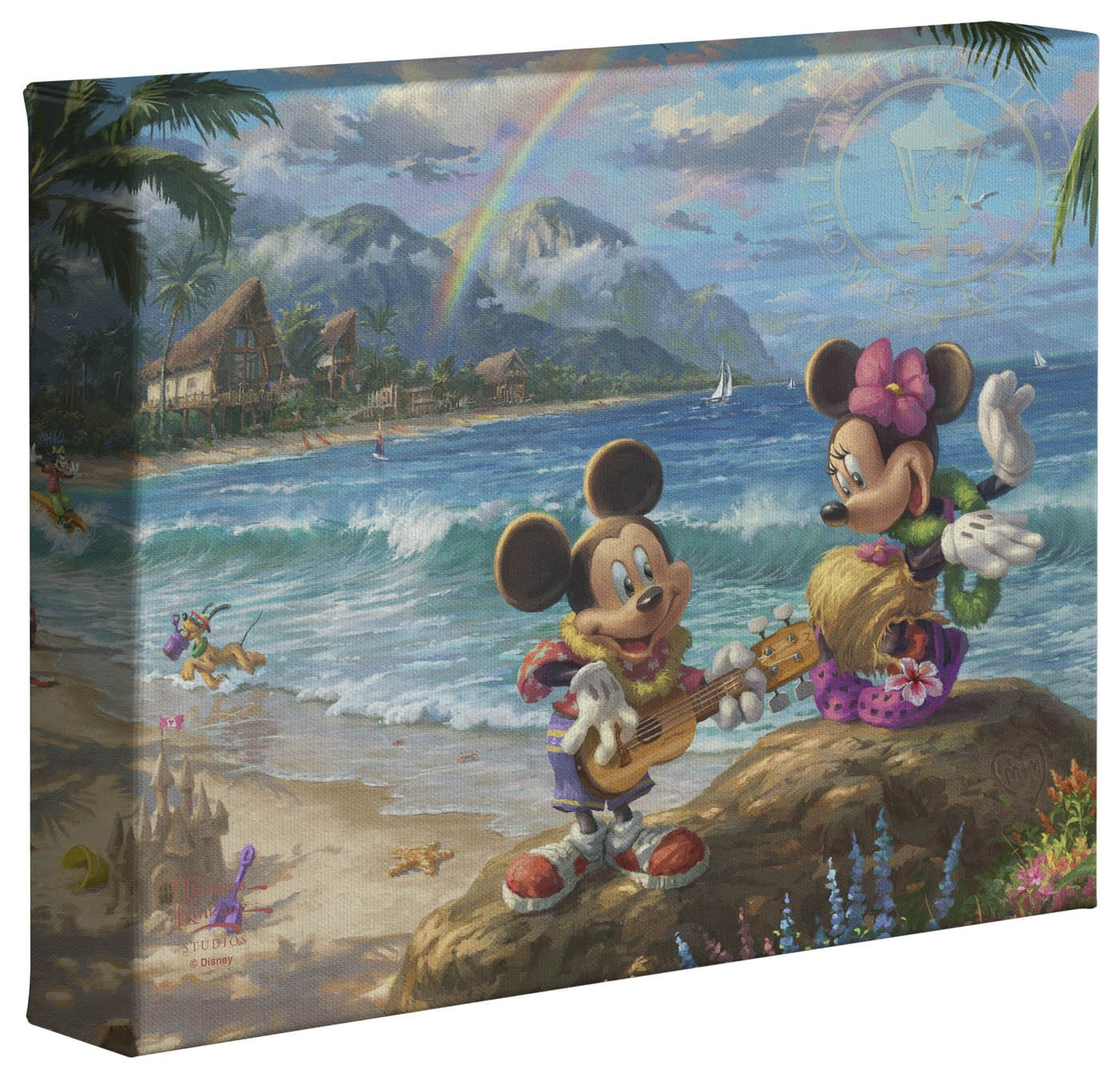 Thomas Kinkade Studios Disneys Mickey and Minnie in Hawaii 8 x 10 Gallery Wrapped Canvas 87959