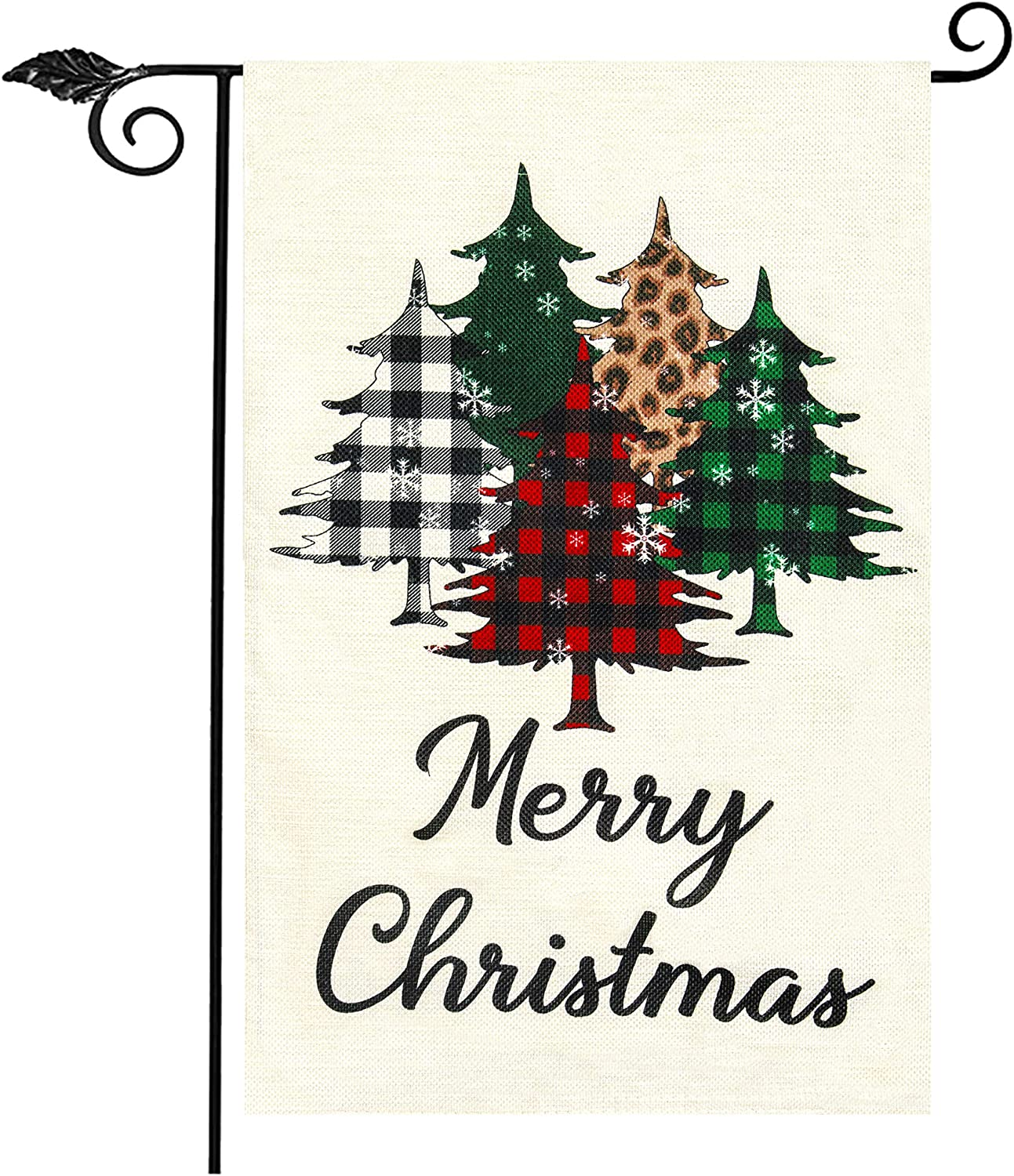 Unves Merry Christmas Garden Flag, Christmas Flag Double Side Buffalo Check Plaid Tree Christmas Decorations Yard Flag for Winter Holiday House Lawn Outdoor Decoration (12.5 x 18 Inches)