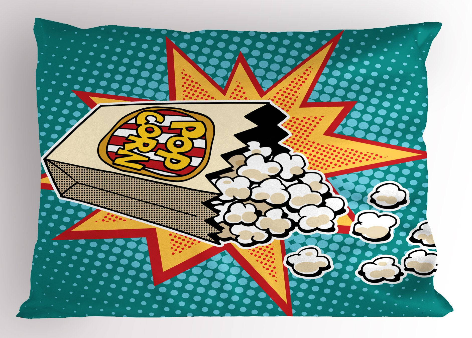 Ambesonne Movie Theater Pillow Sham, Halftone Background with Retro Style Colorful Popcorn Design Cinema Snacks, Decorative Standard King Size Printed Pillowcase, 36 X 20 inches, Multicolor