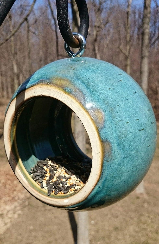 Handmade Modern Birdfeeder Stoneware Ceramic Pottery in Turquoise Blue Bird Feeder
