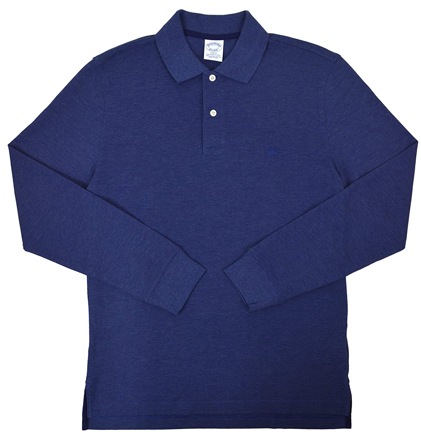 Brooks Brothers Mens Slim Fit Long Sleeve Cotton Polo Shirt Melange Blue
