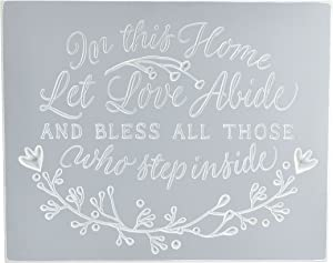 in This Home Let Love Abide and Bless All Those Who Step Inside Engraved Wood Wall Sign 12x15
