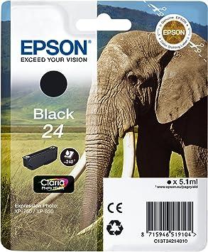 Epson Original 24 Tinte Elefant Xp 750 Xp 850 Xp 950 Xp 55 Xp 760 Xp 860 Xp 960 Xp 970 Amazon Dash Replenishment Fähig Schwarz Bürobedarf Schreibwaren
