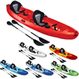 Bluewave Double +1 Sit On Top Fishing Kayak   With 4 Rod Holders, 2 Storage Hatches, 2 Padded Seat & 2 Paddles