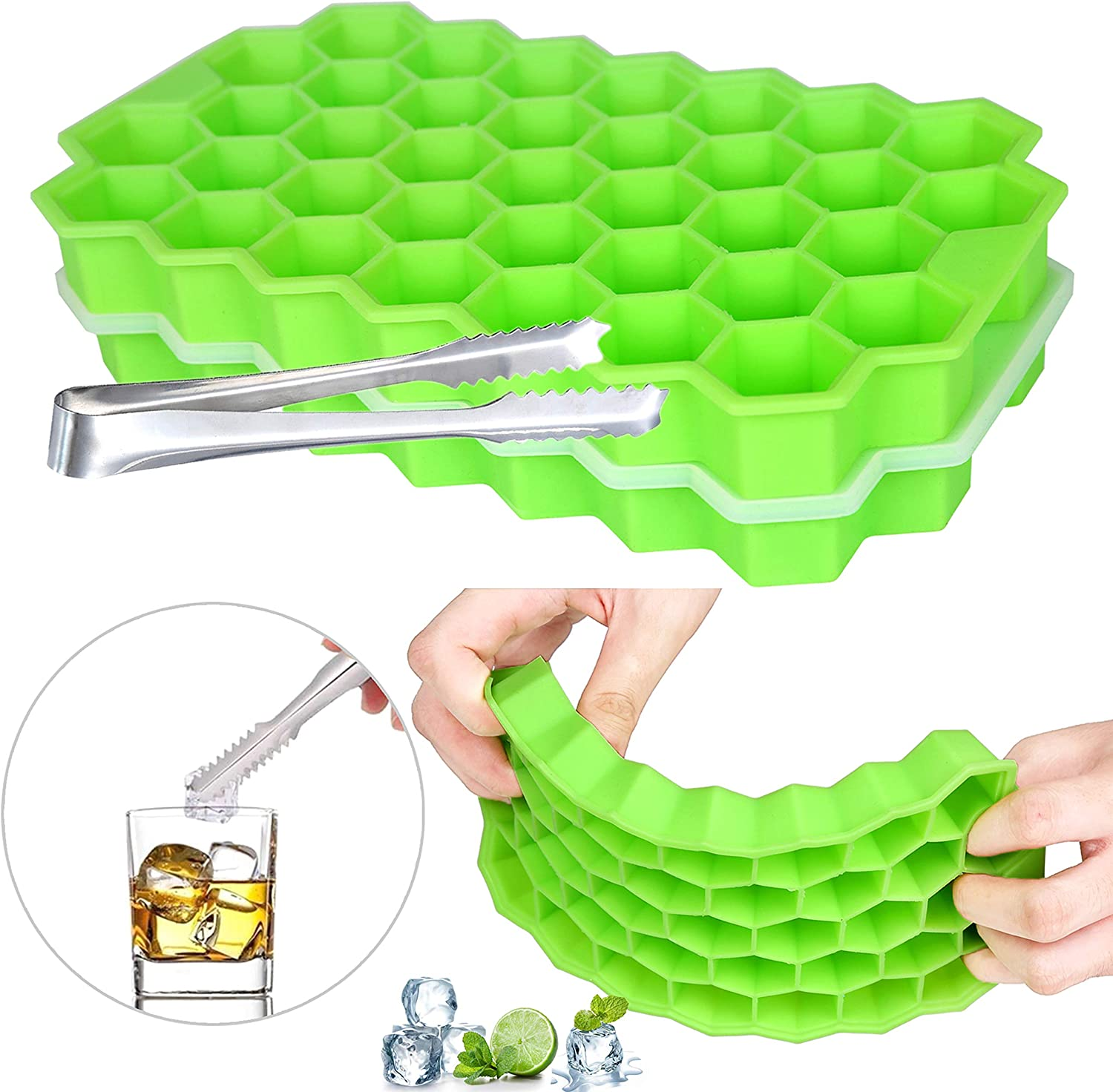 Ice Cube Trays with Lid BPA Free 2 pcs of 74 Ice Cubes Flexible Stackable Easy Release Ice Cube Trays Silicone, Suitable for Whiskey, Cocktails, Cold Drinks, etc. + Ice Clip (green)