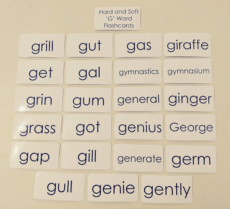 23 Laminated Black and White Hard G Soft G Words Phonics Flashcards.