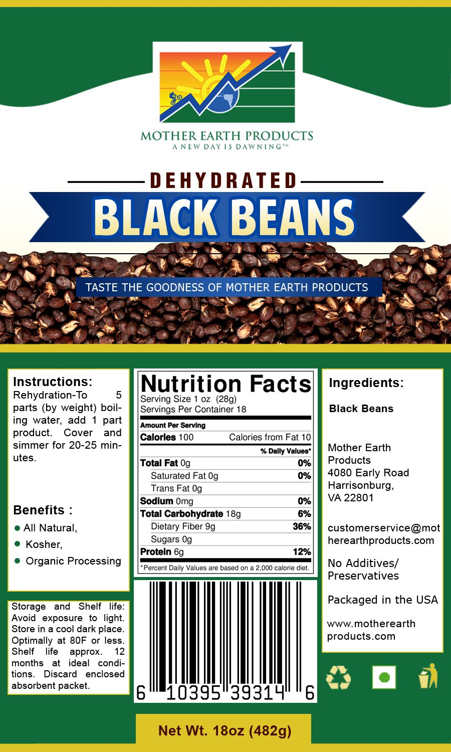 Mother Earth Products Dehydrated Black Beans, Quart Mylar, 17 Ounce