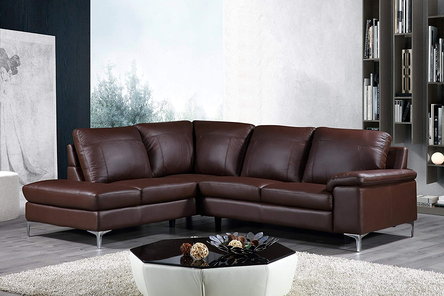 Cortesi Home Contemporary Dallas Genuine Leather Sectional Sofa with Left  Side Facing Chaise Lounge, Brown