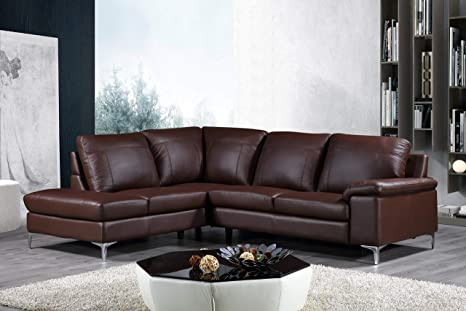 Amazing Cortesi Home Contemporary Dallas Genuine Leather Sectional Sofa With Left Side Facing Chaise Lounge Brown Caraccident5 Cool Chair Designs And Ideas Caraccident5Info