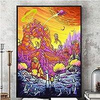 Gulin Rick y Morty Tercera Temporada Seda Pintura de póster, Adecuado para la Tienda de Libros Cafetería Oficina Decoración para el hogar