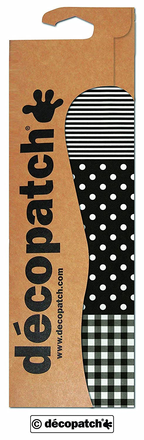 décopatch Black Spots, Stripes and Gingham Paper, 30 x 40 cm, Pack of 3 Sheets C485O
