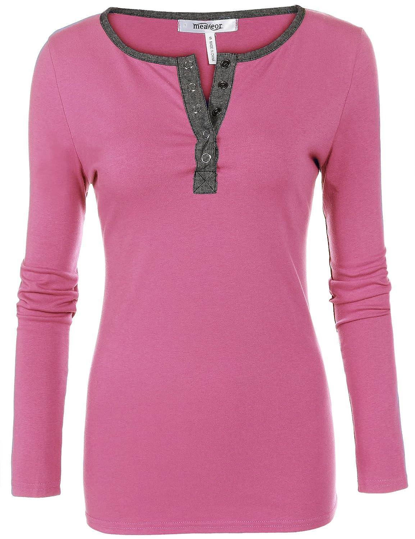 Meaneor Women's Henley Neck Long Sleeve Slim Fit T-Shirt Tops Blouse Tunics MAH005669