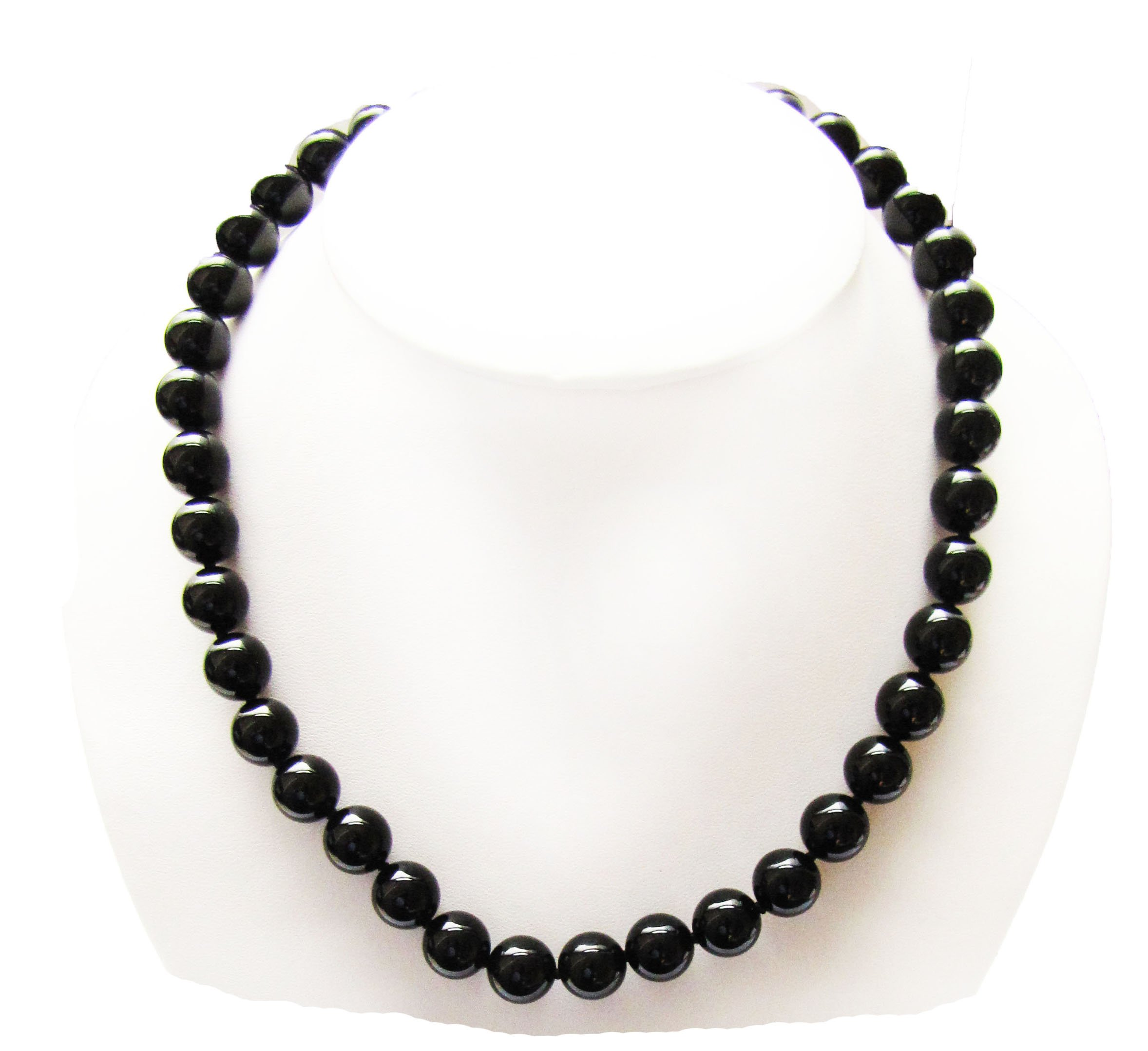 Genuine Black Onyx Agate 10mm Necklace, 17'', Top Quality, Sterling Silver Clasp