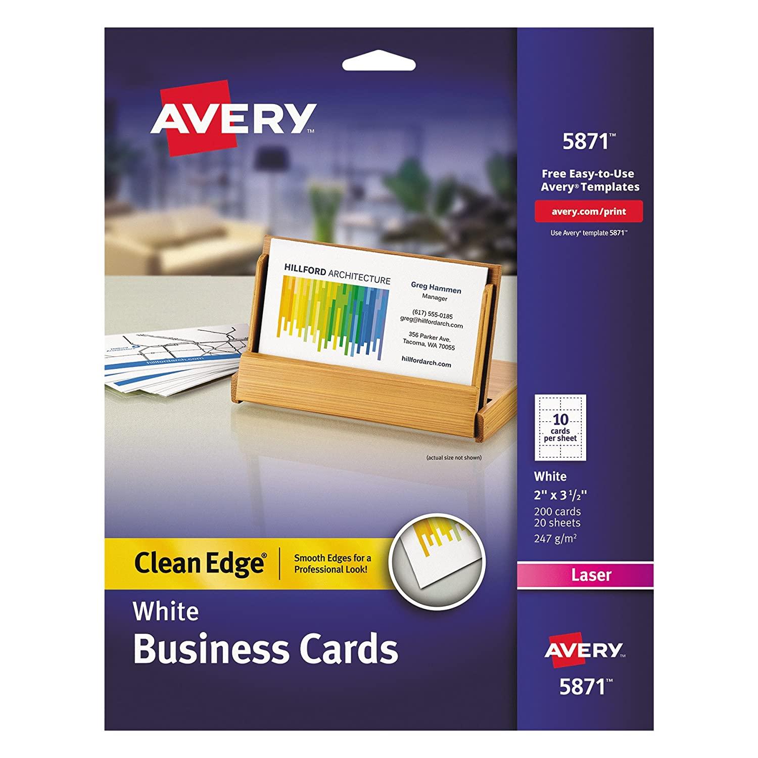 Amazon.com : Avery Printable Two-Side Clean-Edge Business Cards for ...