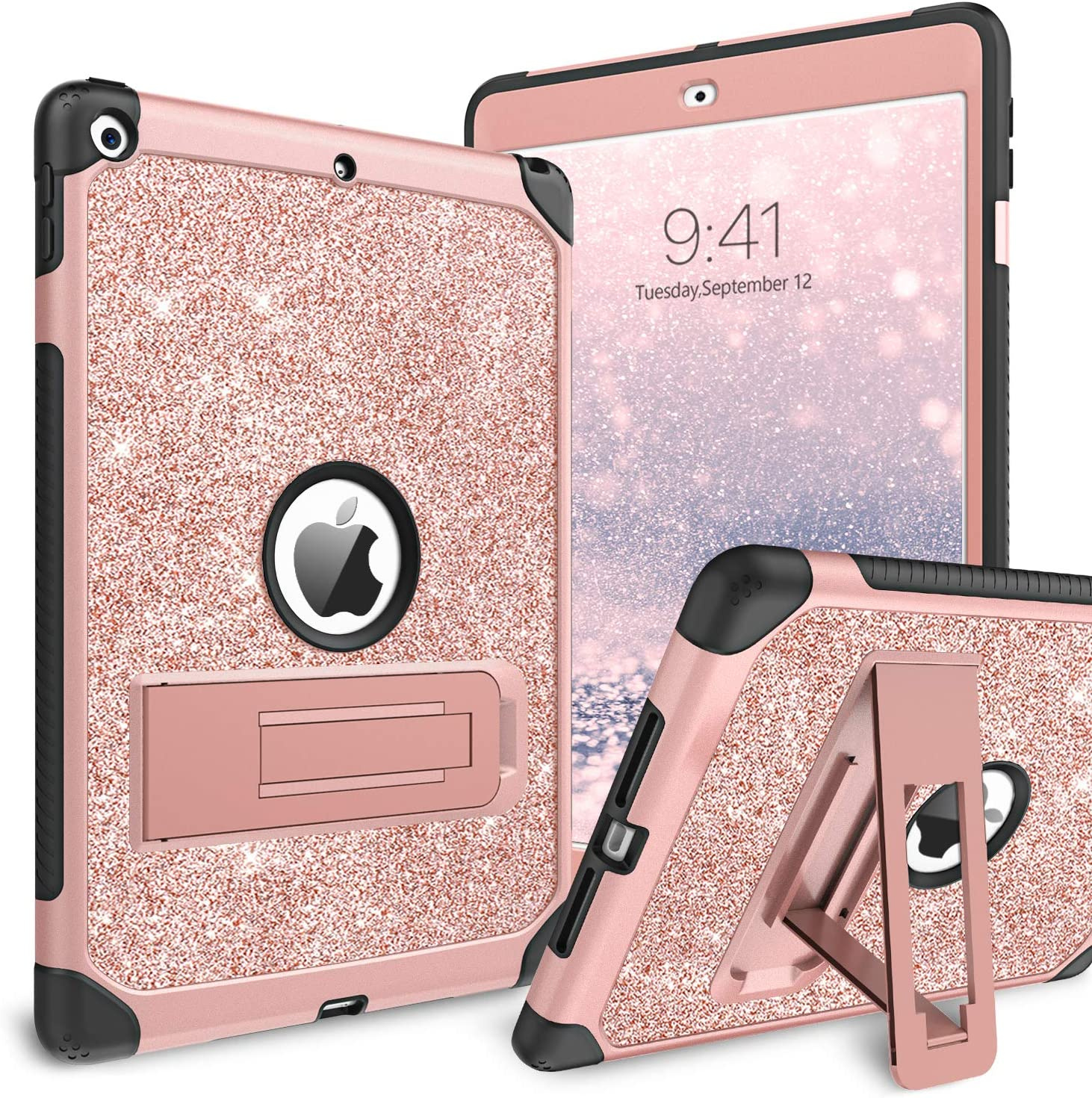 BENTOBEN iPad 8th Generation Case, iPad 10.2 2020 Case, Glitter Sparkly 3 Layers Shockproof Kickstand Durable Leather Full Body Protective Girls Women Tablet Cover for iPad 10.2 Inch 2020, Rose Gold