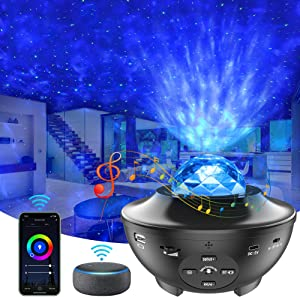 Star Projector, Yamla Smart Galaxy Light Projector Works with Alexa, Google Assistant, 16 Million Colors Phone App Remote Control, Night Light Projector with Bluetooth Speaker for Kids Adults Bedroom