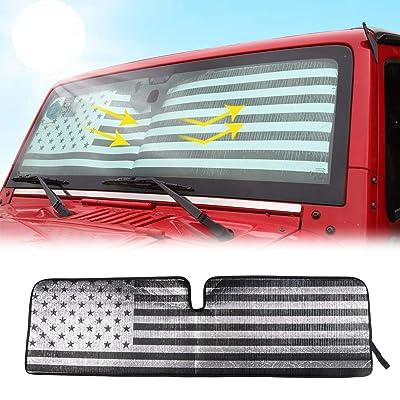 RT-TCZ Windshield Sunshade Sun Shade Heat Shield Sun Visor Mat for Jeep Wrangler Rubicon Sahara TJ JK JKU 2 Door & 4 Door(US Flag) …: Automotive