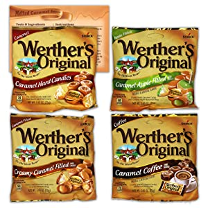 Werthers Hard Candy Variety Pack of 4 Flavors - 2.65 Ounce Bags | 1 Bag Each Flavor | Bundled with Ballard Caramel Sauce Recipe Card