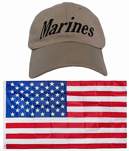 Amazon com : USMC Marines EGA Distressed Marine Corps Khaki Washed