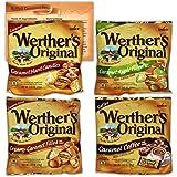 Werthers Hard Candy Variety Pack of 4 Flavors - 2.65 Ounce Bags | 1 Bag Each Flavor | Bundled with Ballard Caramel Sauce Reci