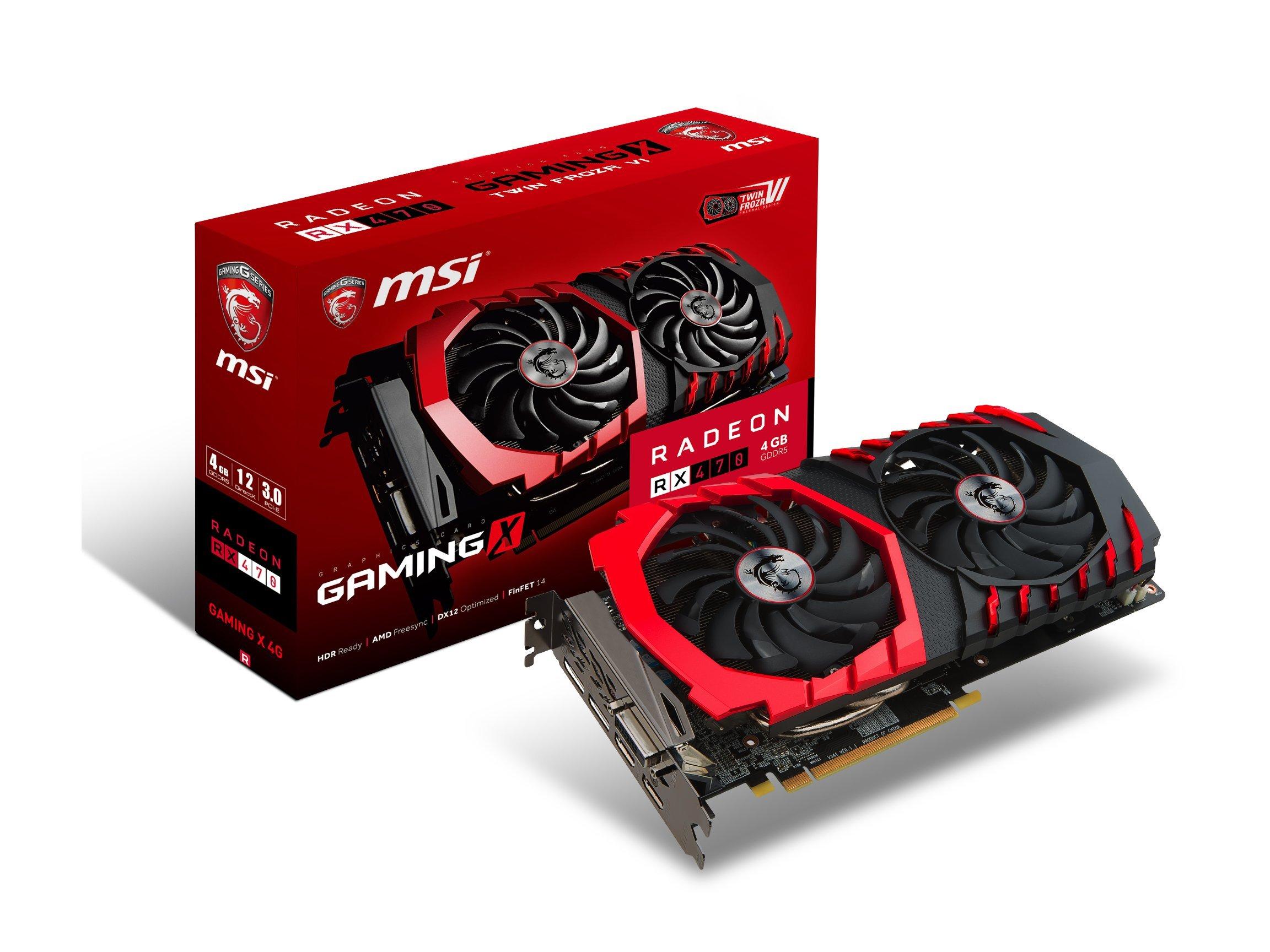 MSI GAMING Radeon RX 470 GDDR5 4GB CrossFire FinFET DirectX 12 Graphics Card (RX 470 GAMING X 4G)