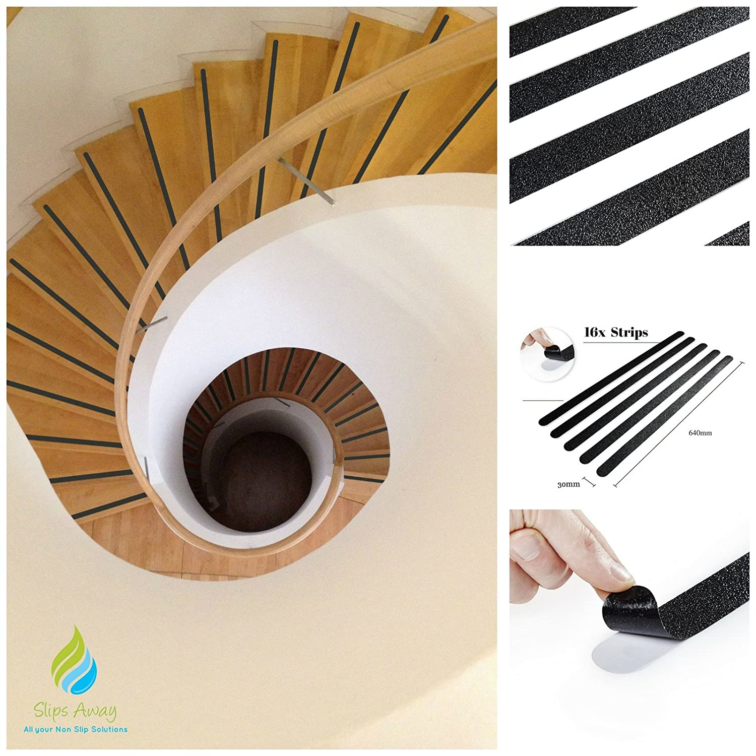 16x Anti Slip Tape Stair Black Safety Grip Strips - Perfect for Stairs Step Laminate Wooden Floor Hallway - Strong Textured Adhesive Sticker Tape Treads - Keep your Family Baby Child Kids Elderly Safe from Slips ( HIGHEST QUALITY) - SLIPS AWAY®