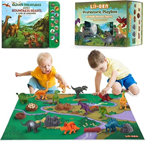 Li'l-Gen Dinosaur Toys w/ Interactive Sound Book and Activity Play Mat for Boys & Girls 3 Years Old & Up - Realistic Looking 7