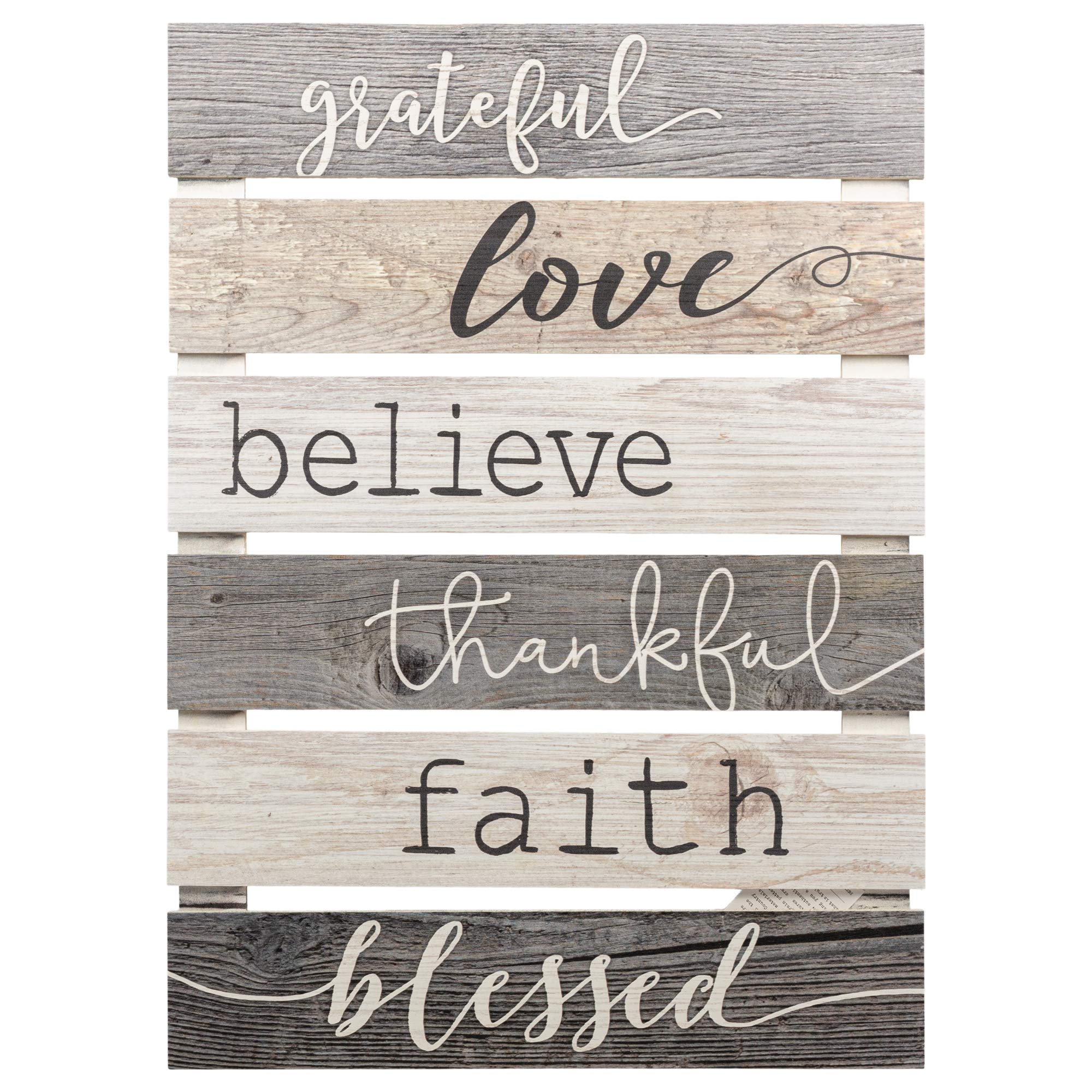 P. Graham Dunn Grateful Love Believe Thankful Faith Blessed Grey 17 x 24 Inch Solid Pine Wood Skid Wall Plaque Sign by P. Graham Dunn