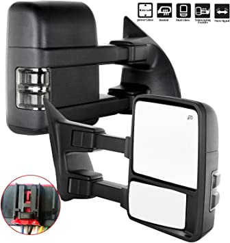 Smoke Turn Signal Power Heated For 08-16 Ford F250-F550 Super Duty Tow Mirrors