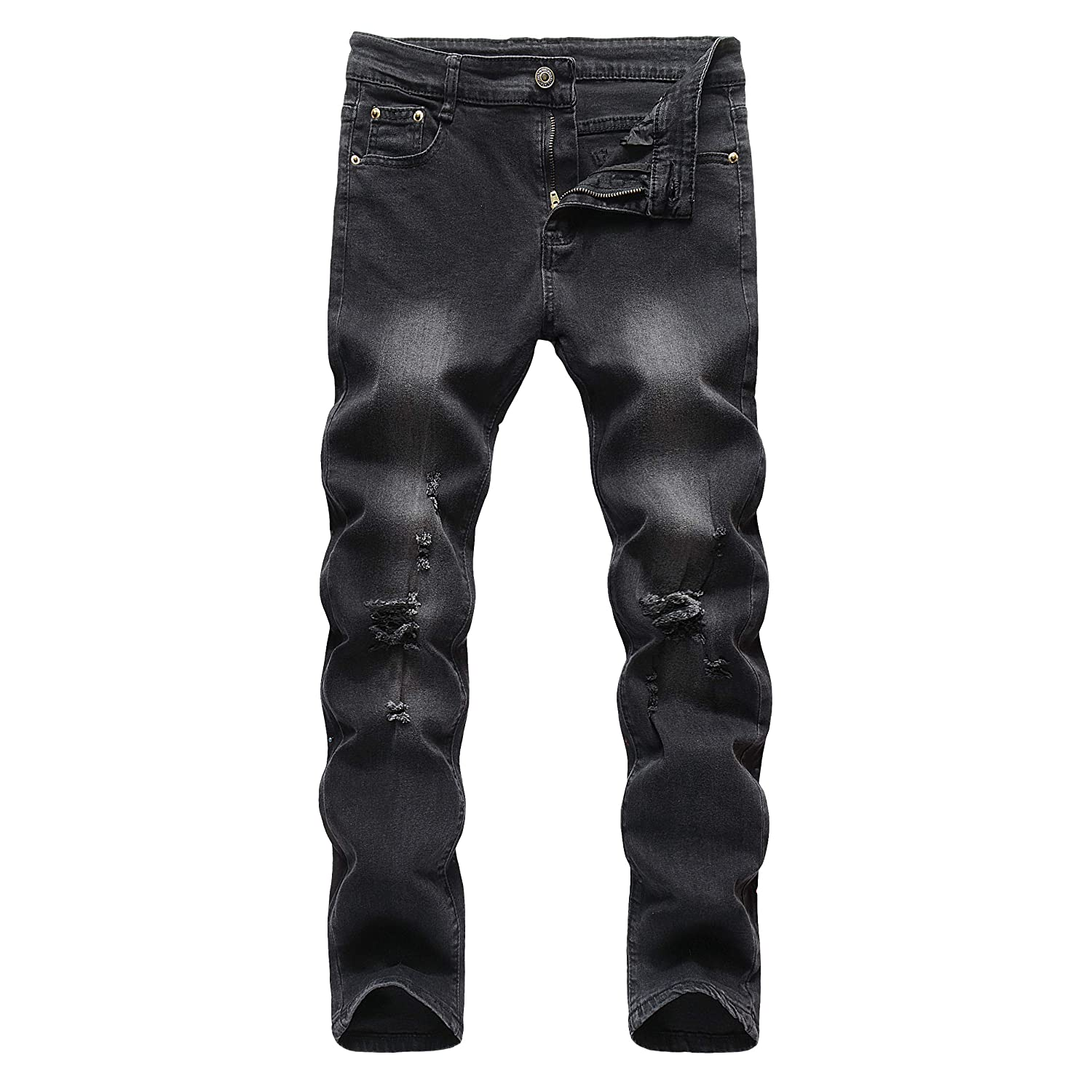 Boys Ripped Destroyed Distressed Stretch Skinny Fit Denim Jeans