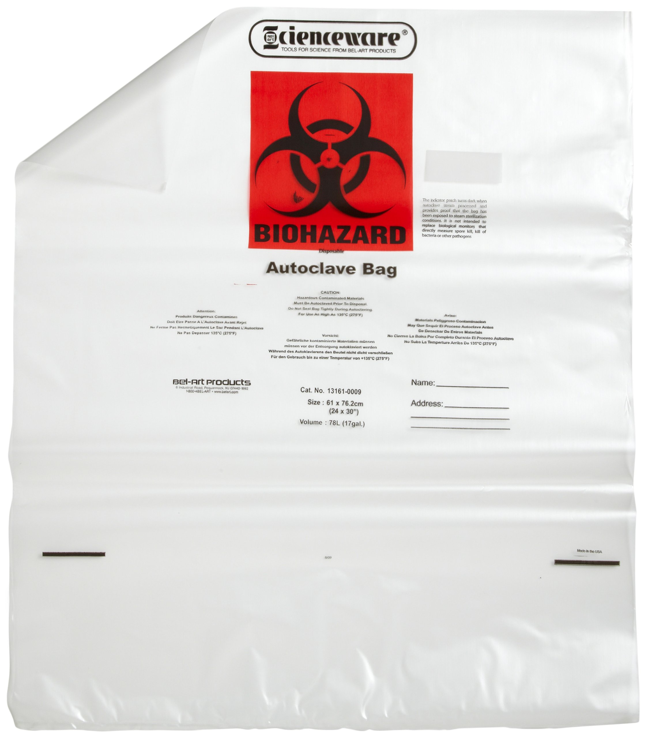 Bel-Art F13161-0009 Polypropylene 10-12 Gallon Clear Biohazard Disposal Bags with Warning Label/Sterilization Indicator, 24W x 30 in. H, 1.5mil Thick (Pack of 100)