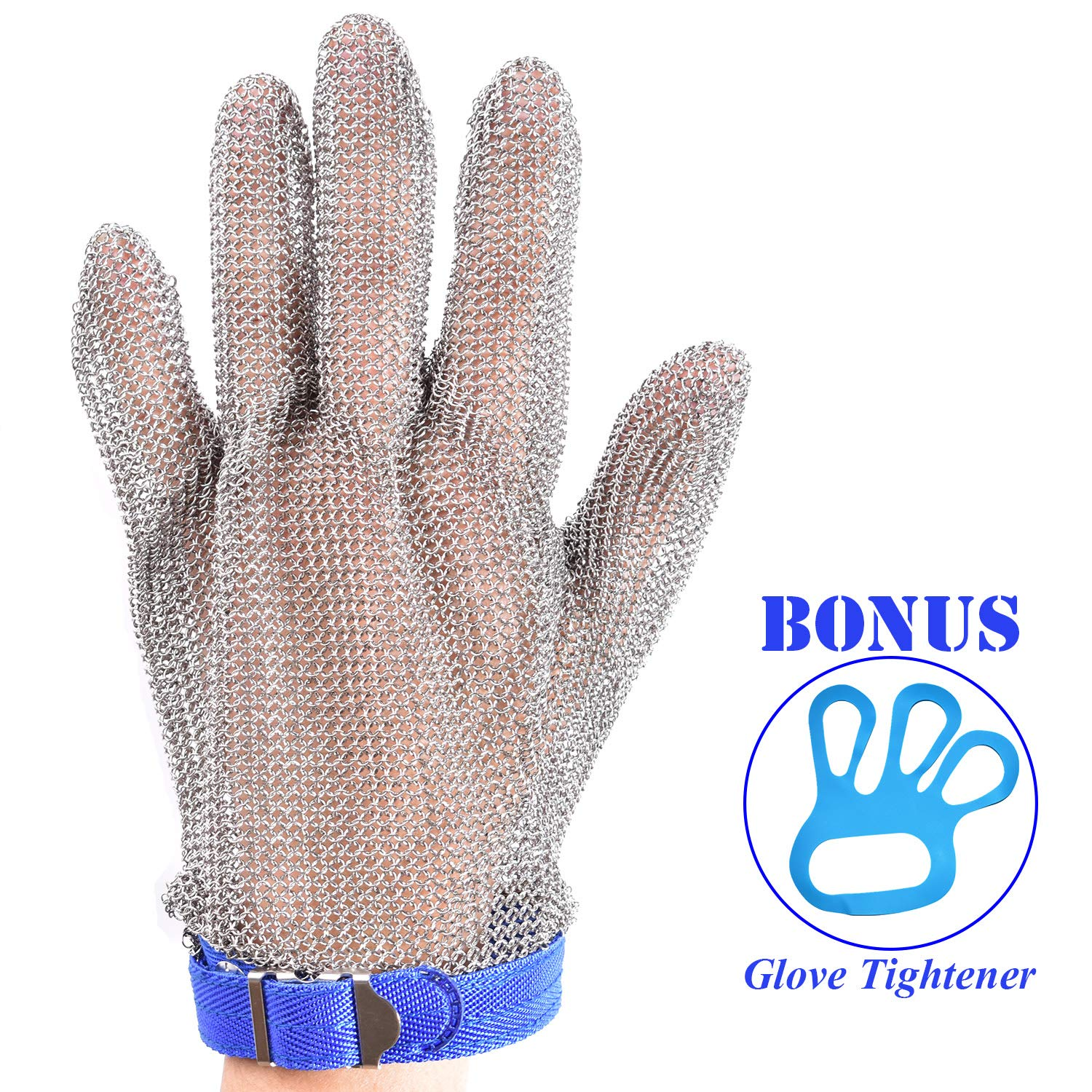 Stainless Steel Mesh Cut-resistant Glove - Chain Mail Glove for Hand Protective, Safety Glove for Home Kitchen, Butcher, Oyster, Garment. Fish Worker (Large) by HANDSAFETY (Image #1)