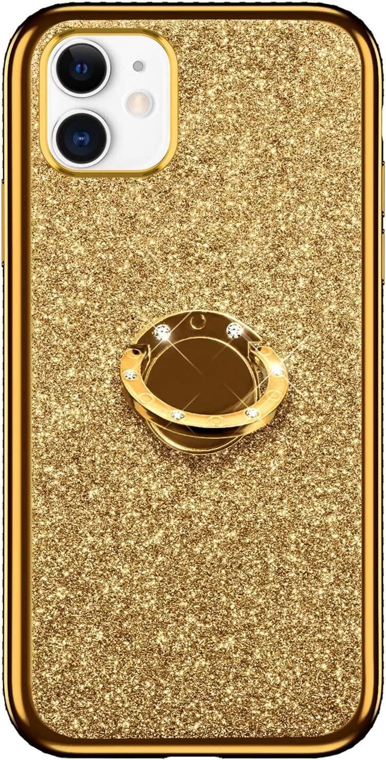 MoreChioce kompatibel mit iPhone 11 H/ülle,iPhone 11 H/ülle Glitzer Marmor,Englisch Bling Strass Funkeln Transparent Silikon Handyh/ülle mit Ring St/änder Schutzh/ülle Crystal Bumper