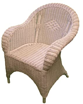 Wicker Chair   White Painted