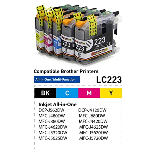 OBENO - 1 Set 1 Bk - LC223 LC221 5 Pack Compatibile Brother MFC ...