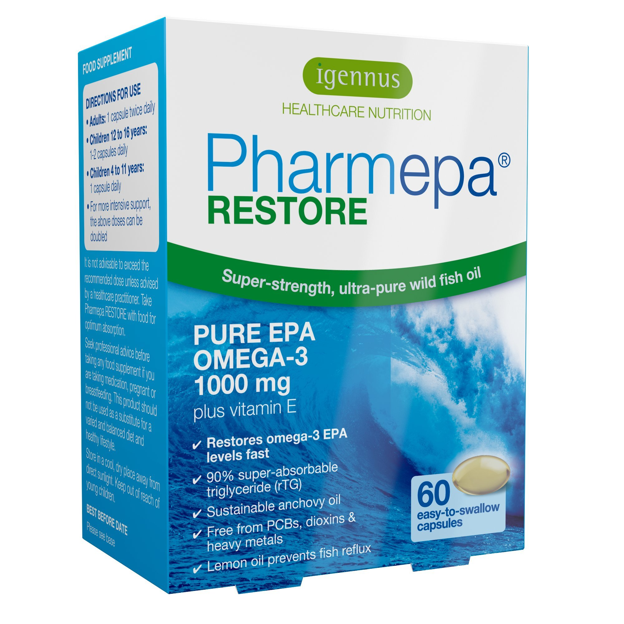 Pharmepa Restore Pure EPA Omega-3 Fish Oil, 1000mg EPA per Serving, Mood & Heart, 60 softgels
