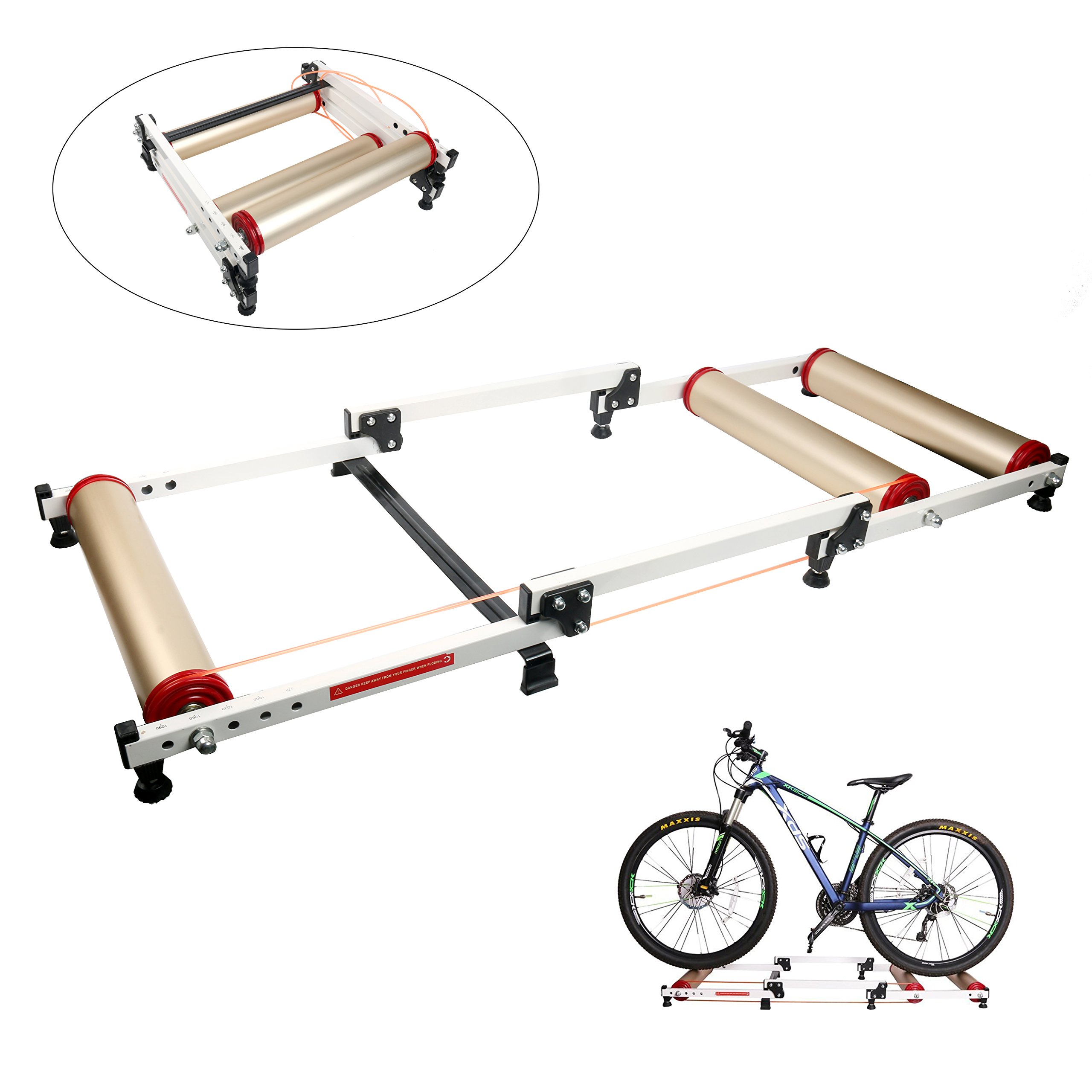 YaeTek Foldable Indoor Bike Rollers for Exercise, Bike Resistance Trainers Parabolic roller drum profile