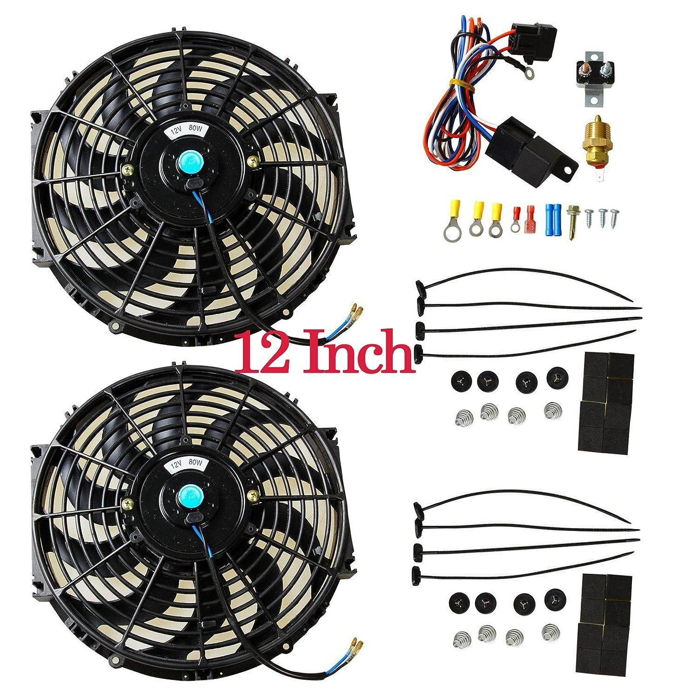 16' Universal Electric Radiator Cooling Fans + Thermostat Relay & Mount Kit (2 Pcs) blackhorseracing