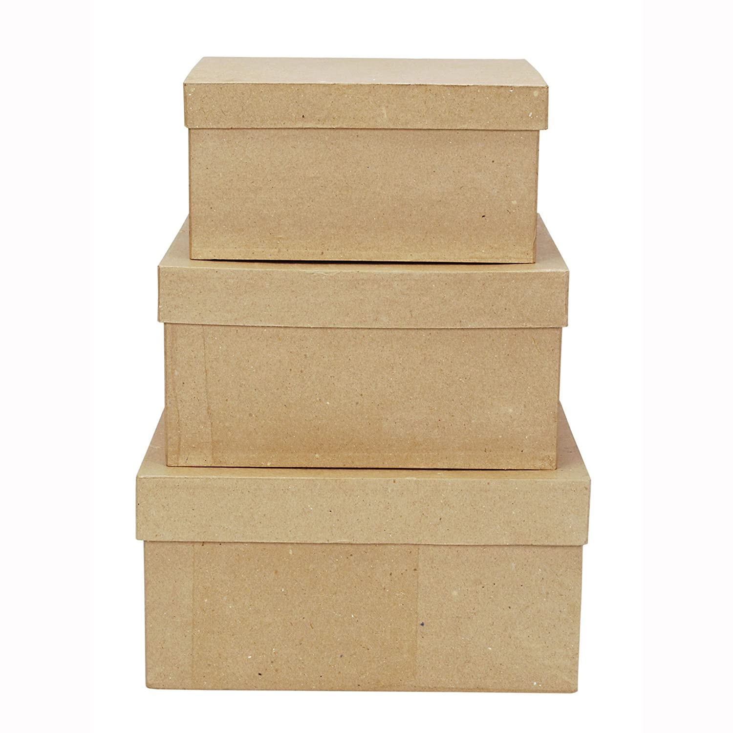 Amazon.com: Darice 2849-06 Paper Mache Boxes for Craftwork, 8, 9 and ...
