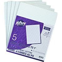 Hilroy Quad Ruled Project Pad, 8-3/8 X 10-7/8 Inches, 96 Sheets, White, 5/Pack (51270)