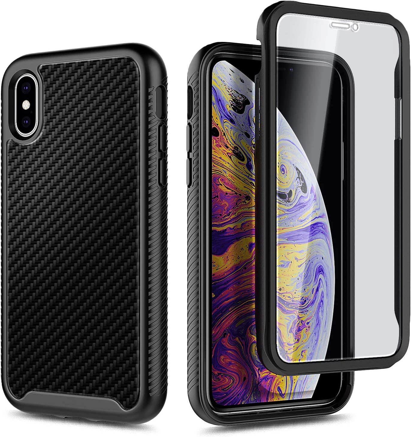 E-Began Case for iPhone Xs Max Shockproof Durable Phone Case Support Wireless Charging Full-Body Protective Rugged Black Bumper Cover with Built-in Screen Protector 6.5 inch 2018 -Carbon Fiber
