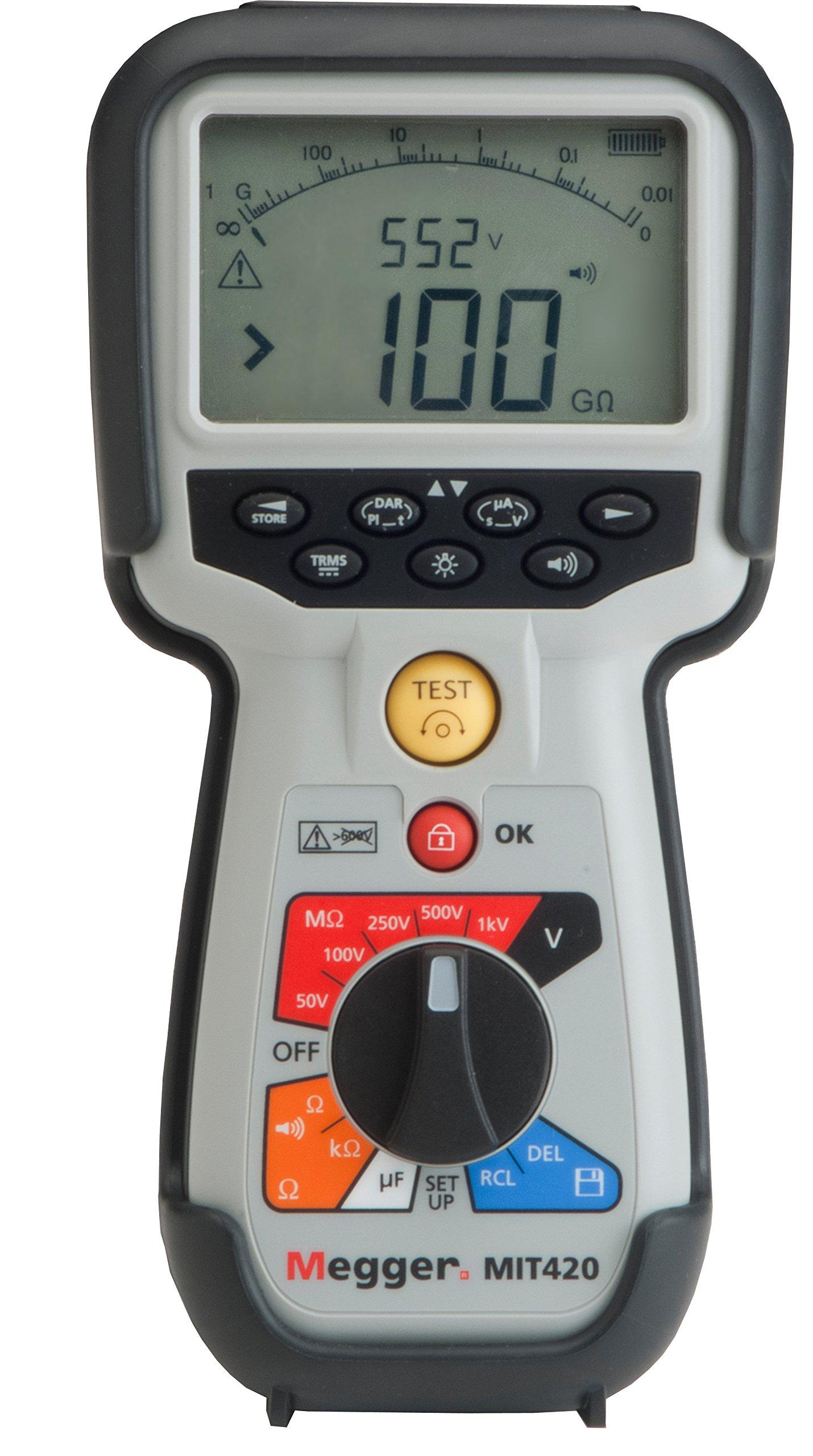 Megger MIT420-EN Insulation Tester, 200 Gigaohms Resistance, 50V, 100V, 250V, 500V, 1000V Test Voltage with a NIST-Traceable Calibration Certificate with Data
