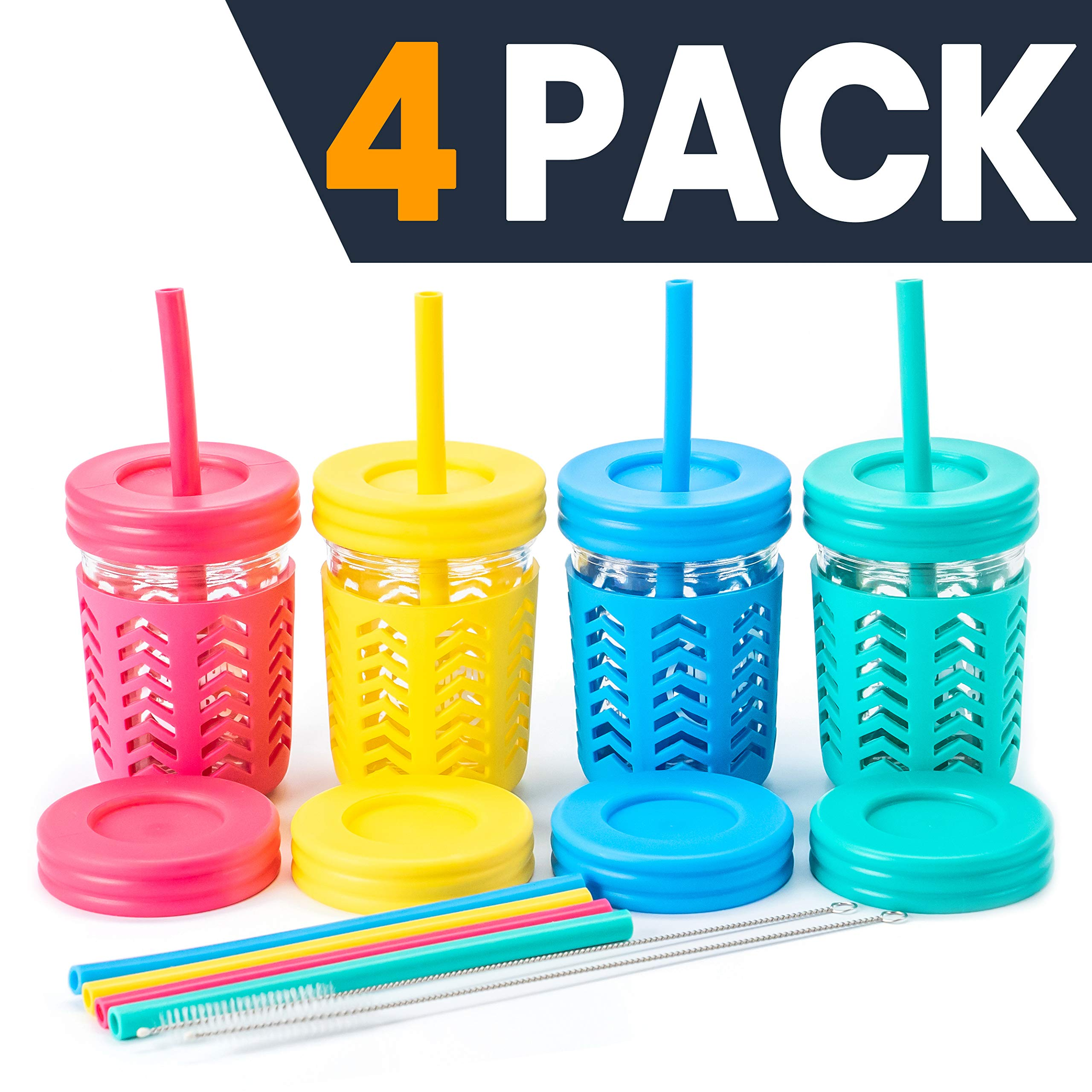 Toddler Cups/Kids Cups by JumpinJars! 4 Kids Mason Jar Cups with Straw (x8), 8x Lids, 4x Jackets, 2x Straw Cleaners! Spill Proof Cups For Kids - Kids Tumbler with Straw - 8oz Kid Drinking Glass by JumpinJars