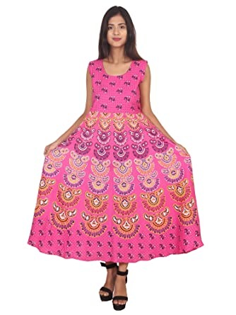 a249351473ba2 KOOLFABS Women's Pink Floral Print Cotton Designer Flared Anarkali Kurti  Long Dress_KF-009Pink_Freesize