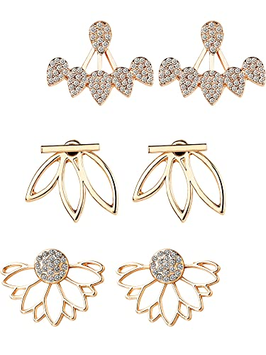 Amazoncom Maxdot 3 Pairs 3 Styles Lotus Flower Earrings Simple Ear